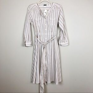 J Crew Striped Shirt Dress Tie Waist Long